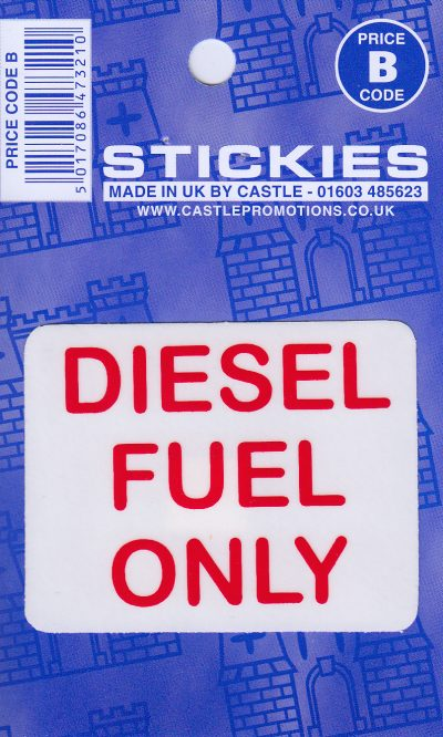 V94 Diesel Fuel Only (Red on Clear) Sticker